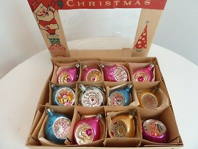 12 Vintage Mercury Glass Indent Christmas Tree Ornaments In Box Poland