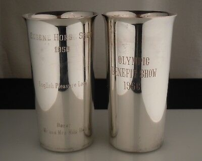 Vintage Pair Silverplated Mint Julep Horse Show Tumblers