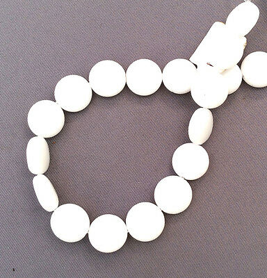 2 Strands 10mm Flat Coin Sea Glass Frosted Bead • Alabaster