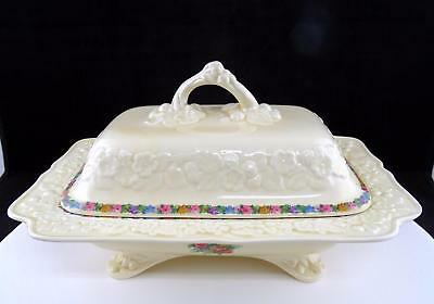 """Crown Ducal Gainsborough Charm #7496 Footed 10 3/4"""" Vegetable Dish With Lid"""