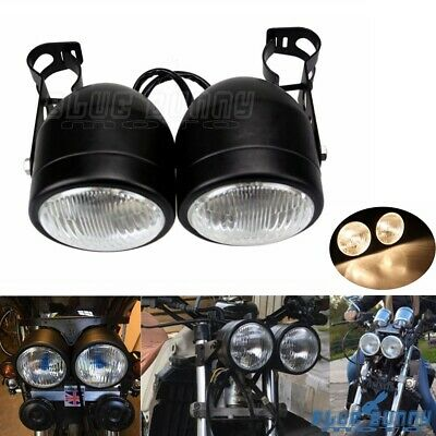 Motorcycle Twin Round Headlight Double Lamp W/28-34mm Brackets Naked Dominator