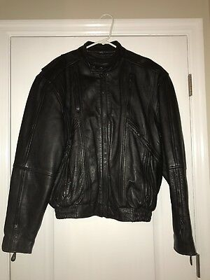 MENS L FIRST Black Leather Jacket Coat Motorcycle Thinsulate Harley Davidson