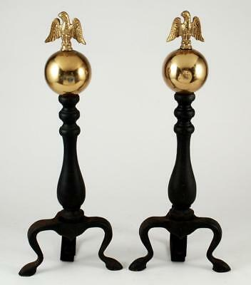 """Vintage Cast Iron Andirons Brass Ball w Federal Eagle on Top 18"""" Tall"""
