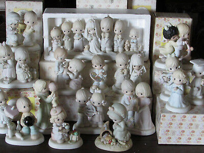 VINTAGE LOT OF 17 PRECIOUS MOMENTS FIGURINES-COLLECTIBLES-w/ BOXES-SOME RARE