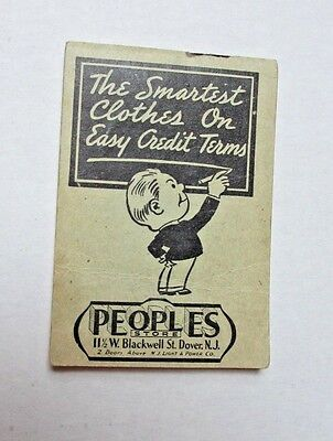 1937-1938 Charge It Pad for Peoples Store Dover NJ Pay as You Wear