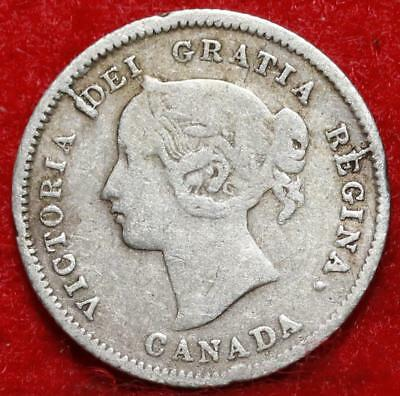 1871 Canada 5 Cents Silver Foreign Coin Free S/H