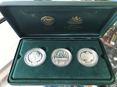 2000 Sydney Olympics 'Host City' 3x 1oz 999 Silver $5 Five Dollar Proof Coin Set
