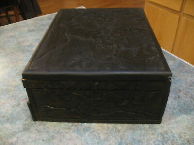 vintage silverware box from Japan 1940s all hand carved