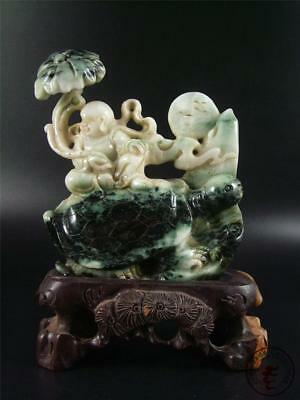 Large Old Chinese Natural Jadeite Jade Mountain Statue BUDDHA & TURTLE w/ Stand
