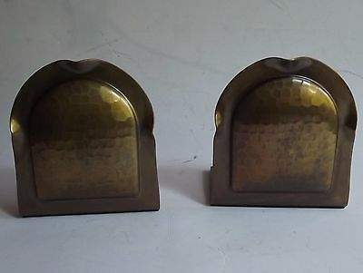 Pair Bookends Signed Roycroft Hammered Copper Arts Craft Mission set