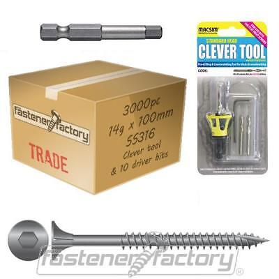 3000pc 14g x 100mm 316 Stainless Steel Decking Screw Clevertool Pack Merbau