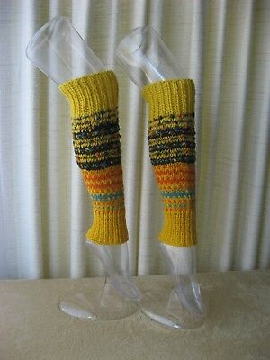 Hand Knit ART Thick Textured Long Leg Warmers in 100% WOOL Mohair Lemon Drops