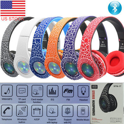 Wired & Wireless Bluetooth 3.0 Foldable Headset LED Stereo SD/FM Radio Headphone