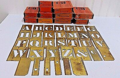 *274* Vtg Reese's Interlock Brass Stencils w/Boxes Complete Sets Letters Numbers