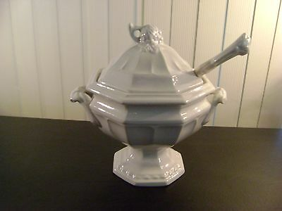 Antique RED CLIFF Grape Design White Ironstone Soup Tureen with Lid & Ladle