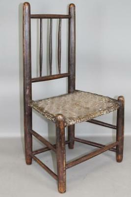 Rare Late 17Th C Pilgrim Style American Carver Childs Side Chair Old Brown Paint