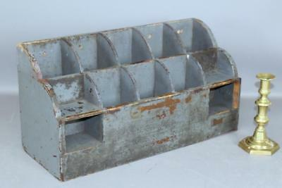 Rare 19Th C  Enfield Ct Shaker Counter Top Seed Box In Best Original Blue Paint