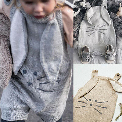 UK New Kids Baby 3D Ear Knitted Clothes Girl Boy Jumper Romper Jumpsuit Playsuit