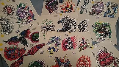 """9 Vintage St. Marq """"The INK MASTER"""" tattoo flash sheets"""