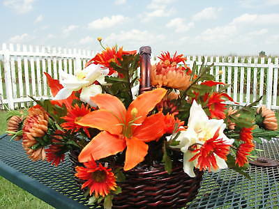 Orange Lily Silk Flower Arrangement Wicker Basket Spectacular Custom Designs