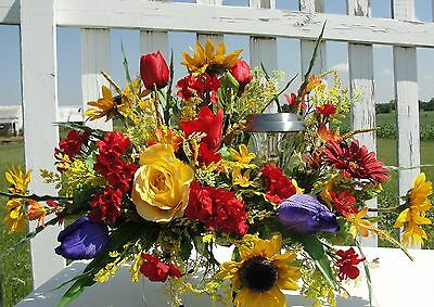 Solar Light Burial Flowers Tombstone Saddle Memorial Sympathy Rhapsody of Color