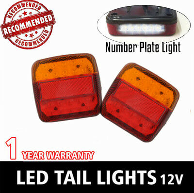 2X 12V Square Led Trailer Light Tail Lamp Stop Number Plate Marine