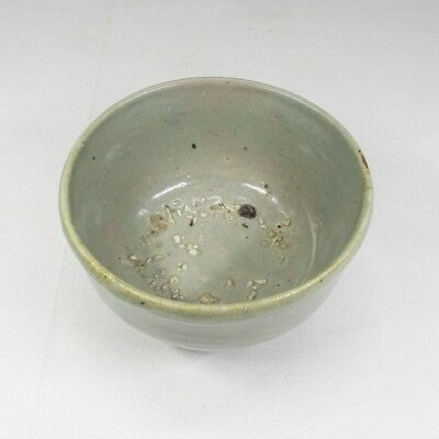 H356: Real old Korean Joseon Dynasty porcelain tea bowl with appropriate work