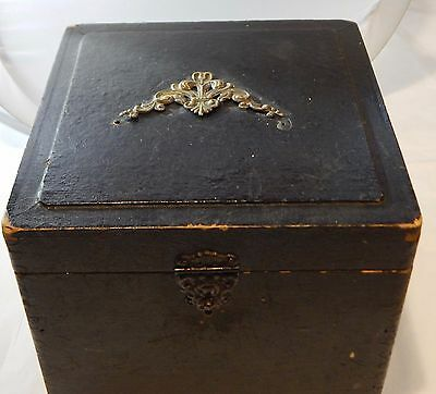 Antique Victorian High Collar Box Black Embossed Embellished Circa 1890