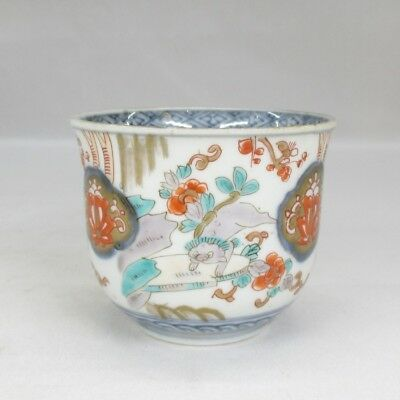 H557: Japanese OLD IMARI colored porcelain cup SOBA-CHOKO with good painting 2