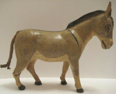 Old German Composition Large Donkey for Christmas Putz Nativity or Farm Village