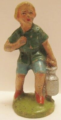 Old Italy Composition Farm Boy Child w/ Milk Canister - Christmas Putz Village