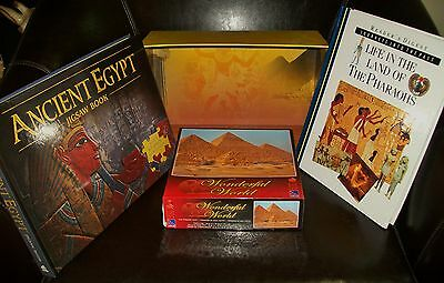 4 x ANCIENT EGYPT COLLECTABLES - box, book, jigsaw puzzle book + jigsaw puzzle