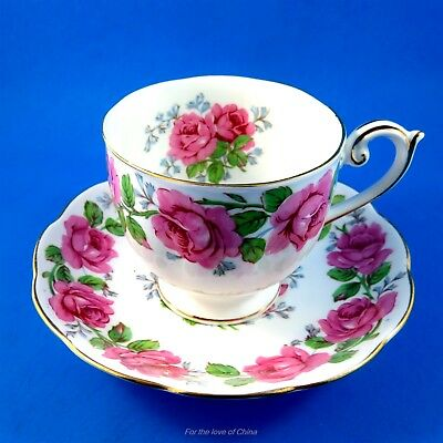 Lady Alexander Rose Queen Anne Demitasse Tea Cup and Saucer Set