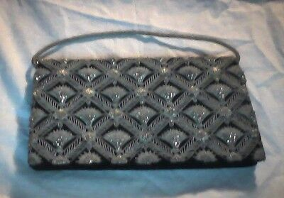 Evening Purse Black Velvet with Silver Tone Embroidery Beautiful