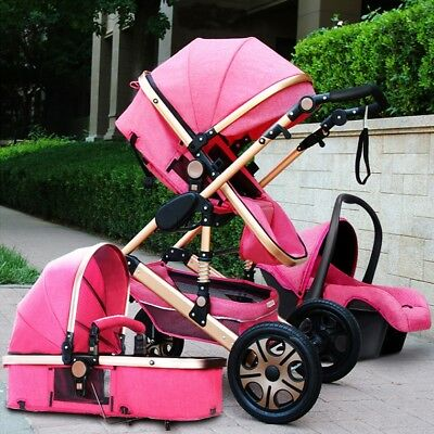 Baby Pram Buggy Stroller 3 in1 Pushchair Car Seat Carrycot Travel System