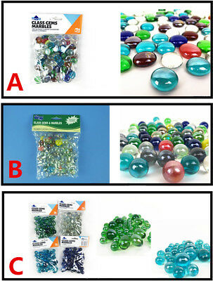 Glass Gems Marbles Cobochon Pebbles Round Flat Assorted Colors Home Decor Craft