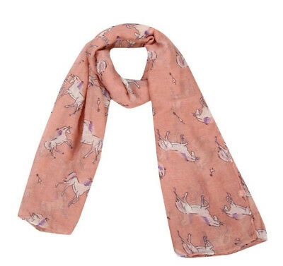 Horse & Western Fashion Ladies Horse Print Scarf Salmon / Pink Horses