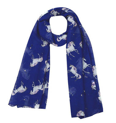 Horse & Western Fashion Ladies Horse Print Scarf Blue / Grey Horses