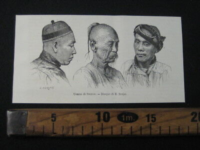 1875 Cina Uomini Shantou Swatow Ritratti Cappelli Stampa Engraving Antiques A7