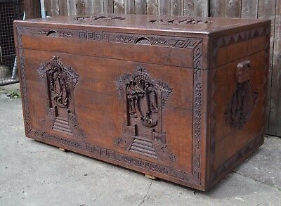 Fabulous Huge Chinese Carved Camphor Wood Chest Trunk Blanket Box Coffer Storage