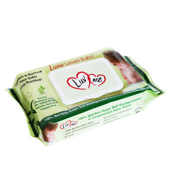 6 pack x 80pk (480 Wipes) LUVME Eco Natural Bamboo Baby Wet Wipes