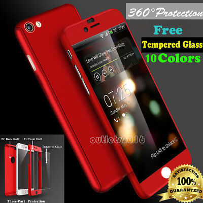 360° Full Hybrid Tempered Glass +Acrylic Hard Case Cover F iPhone 6  6s 7 8 Plus