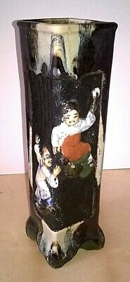 Early Sumida Gawa Vase  - 3 Japanese Figures Climbing - Rare Shape - Original