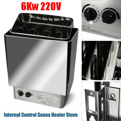 220V 6KW Sauna Heater Stove Wet & Dry Stainless Steel Internal Control 0~80℃