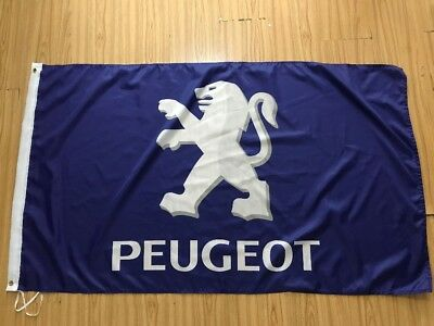 Blue Peugeot Car Banner Flag 3X5ft Racing Sign Advertising Wall Garage Logo