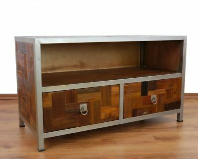 java metall trifft teak schr ges sideboard tv bank hifi schrank phono m bel eur 289 90. Black Bedroom Furniture Sets. Home Design Ideas