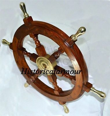 "24"" Ship Wheel Solid Cherry Wood Brass Center Nautical Wall Decor Boat Sea WHEEL"