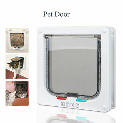White Frame 4 Way Locking Lockable Magnetic Pet Cat Small or Large Dog Flap Door