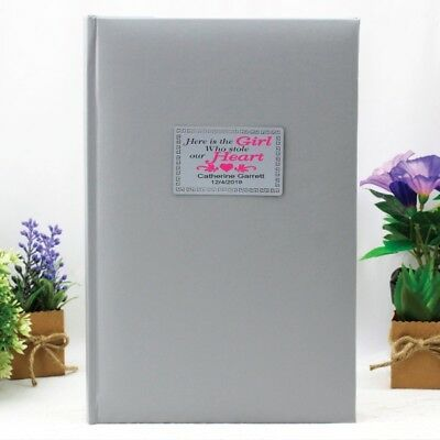 Baby Silver Photo Album Gift - 300 Photo - Add a Name & Message