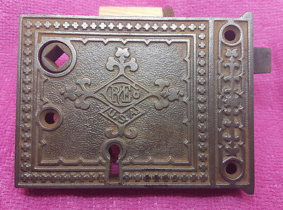 Antique Russell and Erwin Decorated Surface Mortise Lock 19th Century
